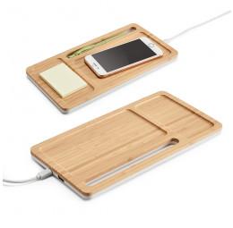 Organizador de Mesa em Bambu com Carregador Wireless