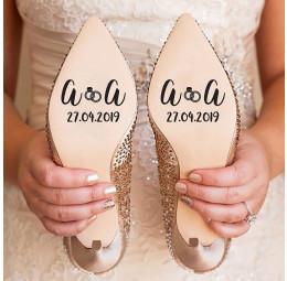 Adesivo para Sola de Sapato - Iniciais do Casal com Aliança