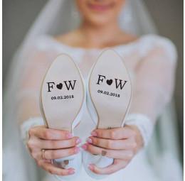 Adesivo para Sola de Sapato - Iniciais do Casal com Coração