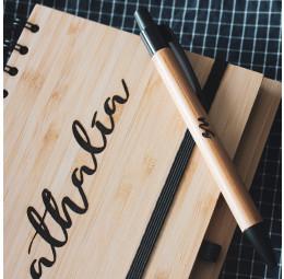 Caderno e Caneta em Bambu