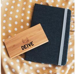 Kit com Caderno jeans e Powerbank em bambu