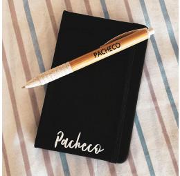 Kit Caderno Pequeno com nome pequeno e Caneta Bambu Colors Personalizados