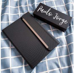 Caderno com fecho magnético e Conjunto de canetas Exclusive - Nome