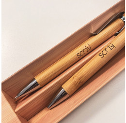 Conjunto de Esferográfica e Lapiseira em Bambu