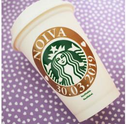 Copo Starbucks Noiva com Data do Casamento