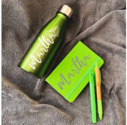 Kit Garrafa Aluminio, Caderno, Caneta Bambu Colors e Marca Texto