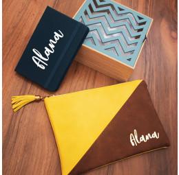 Kit para Presente em Caixa Chevron com Caderno e Necessaire