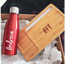 Kit com Organizador de Mesa em Bambu e Garrafa de Alumínio Colorida