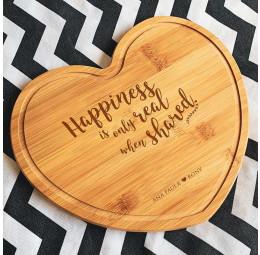 Tábua de bambu Coração - Happiness