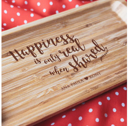 Travessa em Bambu Personalizada - Happiness