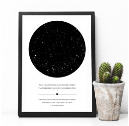 Quadro Mapa de Estrelas - Namoro